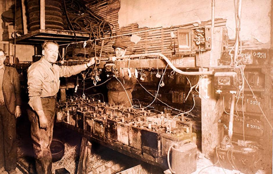 Charles B. Johnson reconditioning automotive batteries (1930)